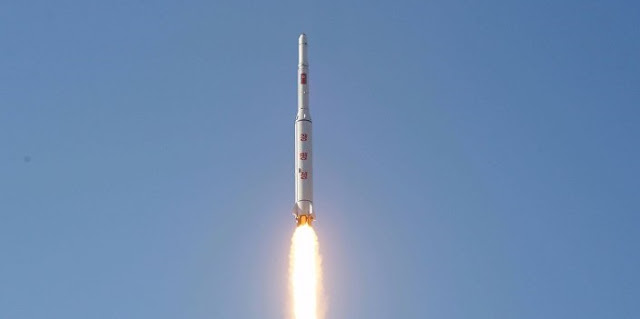 North Korea's Unha-3 rocket launches the Kwangmyŏngsŏng-4 satellite into orbit. Photo Credit: KCTV
