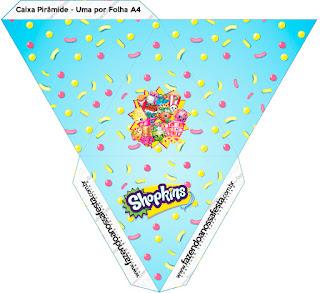 Caja con forma de pirámide de Shopkins.