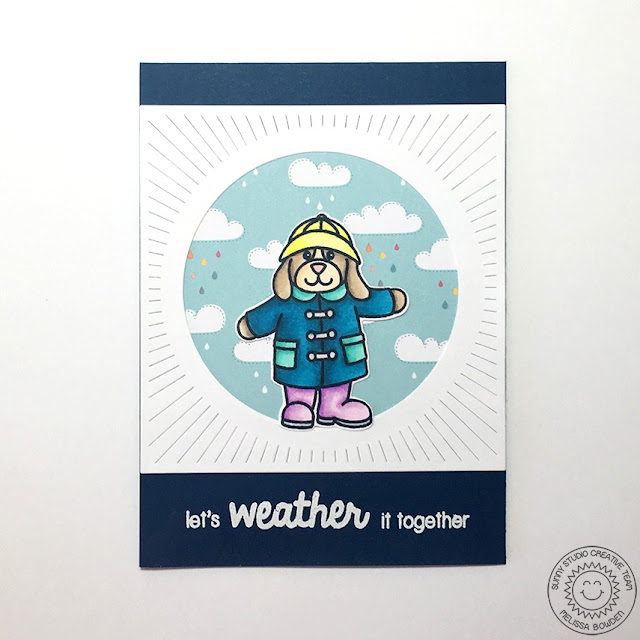 Sunny Studio: Let's Weather It Together Encouragement Card by Melissa Bowden (using Rain or Shine stamps & dies)