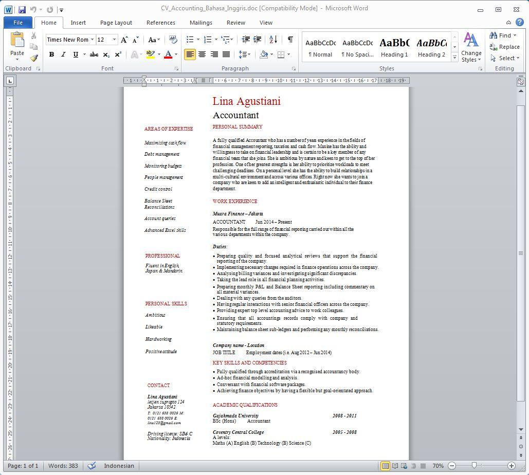 Contoh CV Akuntansi Dalam Bahasa Inggris
