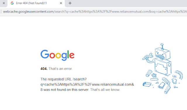 Google Cache version returns 404 error