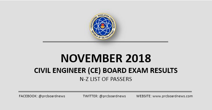 N-Z PASSERS: November 2018 Civil Engineering CE board exam result