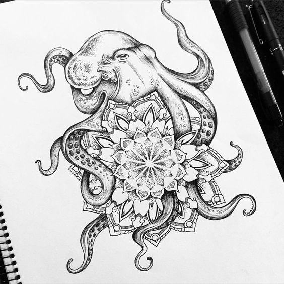 Octopus Mandala Commission Tattoo Designs