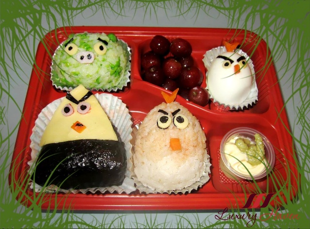 angry birds onigiri bento box recipe