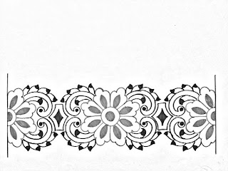 Embroidery saree border design drawing and sketch on tracing paper