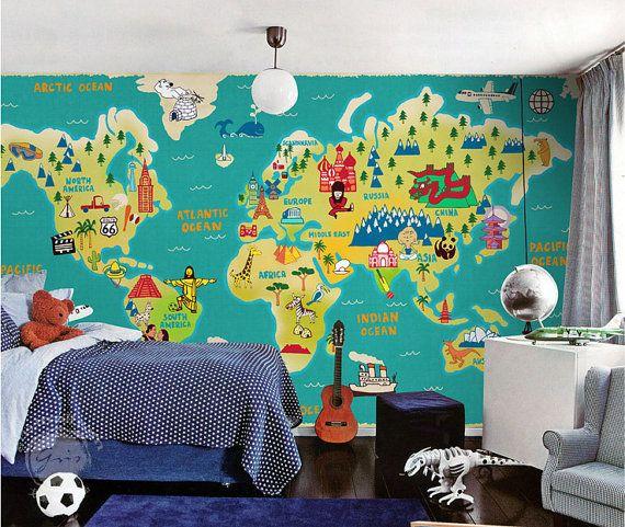 Världskarta tapet barn barnrum killtapet