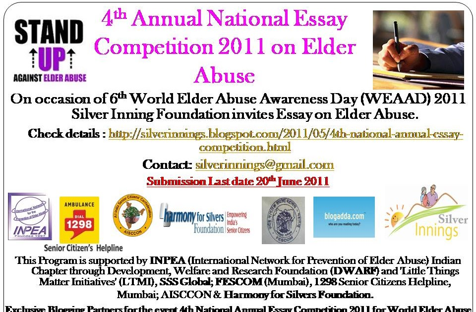 silver innings blog for senior citizens and their family th  silver innings blog for senior citizens and their family 4th national annual essay competition 2011 6th world elder abuse awareness day weaad 2011