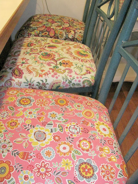 pretty floral fabric bar stools