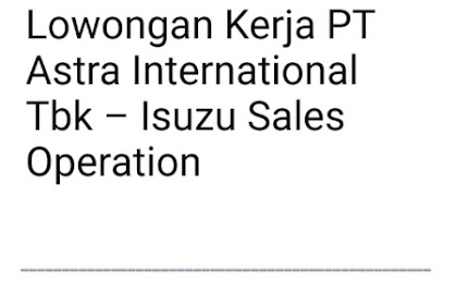 Lowongan Kerja Terbaru Astra International  Isuzu Sales Operation Mei 2019