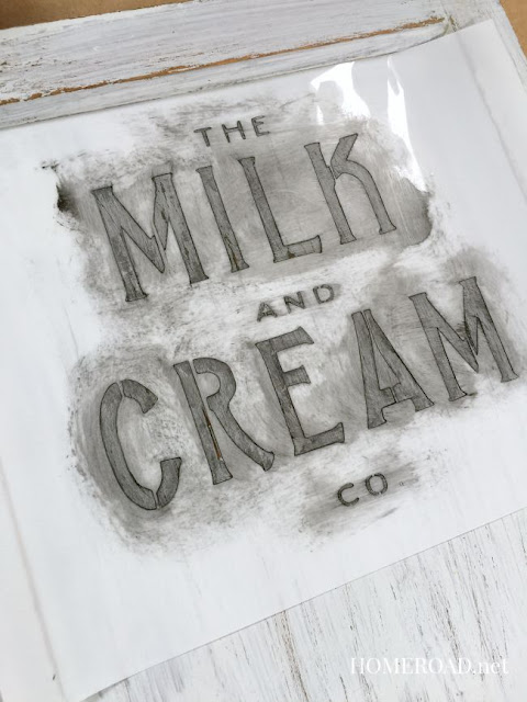 Milk and Cream stencil on white cabinet door