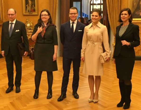 Crown Princess Victoria and Prince Daniel visited Roma, Italy, meet Laura Boldrini, wore Ralph Lauren dress