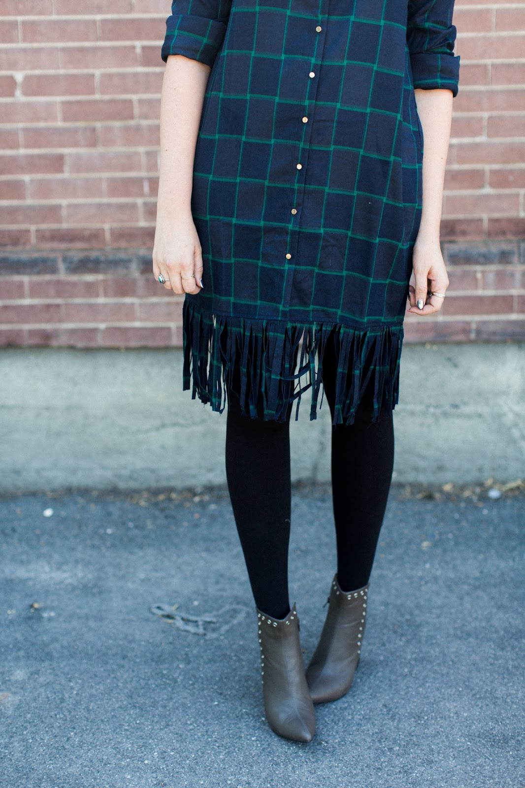 Fringe dress, Plaid Dress, Modest Outfit
