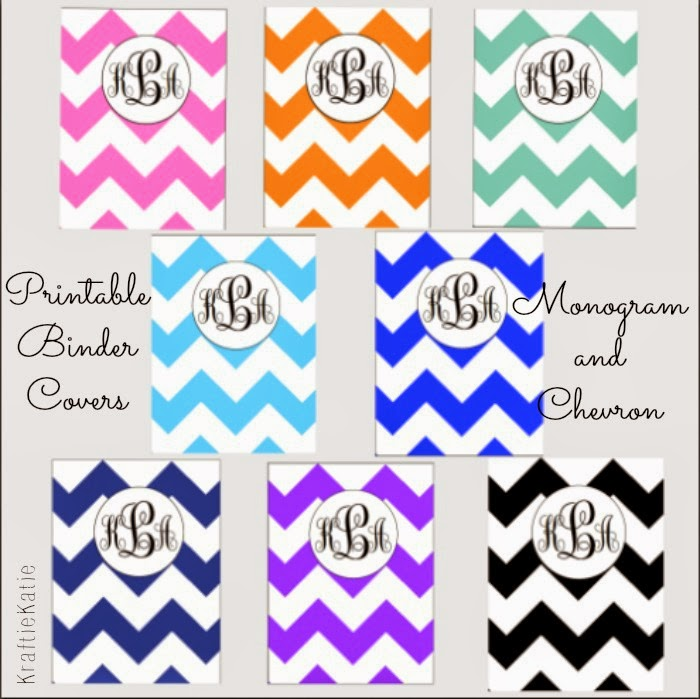Kraftie Katie: DIY Monogram Chevron Binder Covers