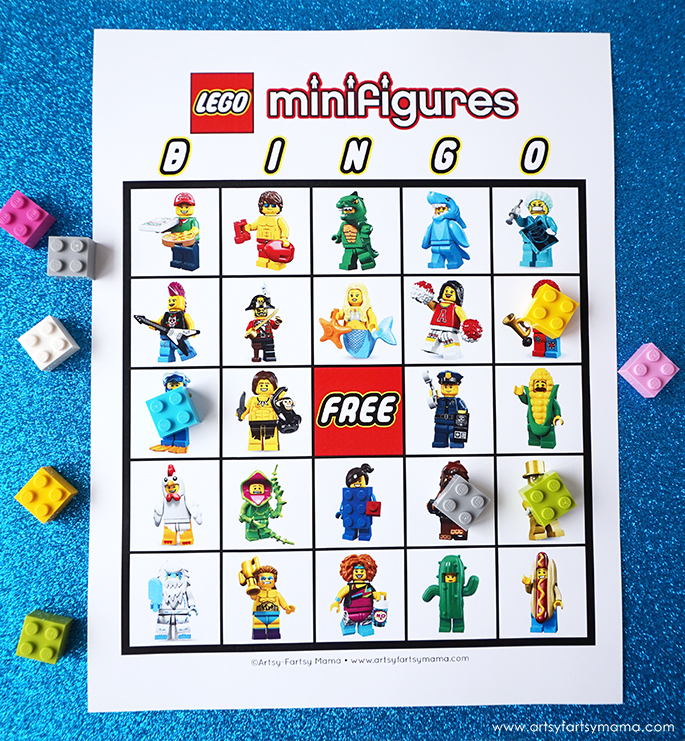 42 LEGO Crafts and Activities for Kids for Endless Fun featured by top US lifestyle blogger, Marcie in Mommyland: Download and print Free Printable LEGO Minifigure Bingo to play at parties and just for fun!