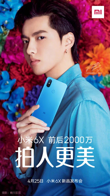 Muncul Tampilan Resmi Xiaomi Mi 6X dengan Warna Biru Kamera 20MP