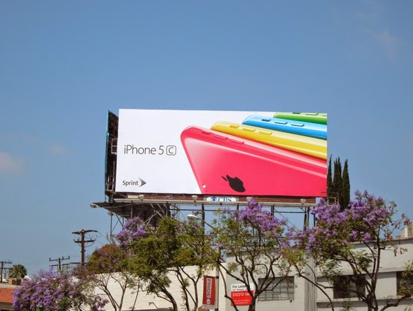 iPhone 5c fan effect on white background billboard