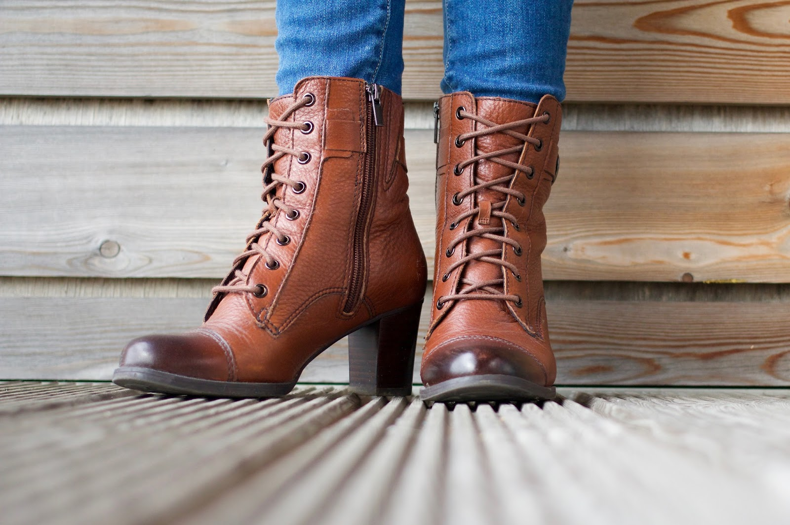 Autumnal wardrobe-Clarks brown leather lace up and zip heeled ankle boots