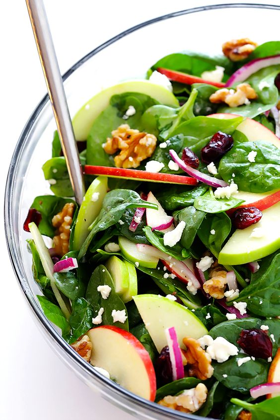 This Apple Spinach Salad recipe is one of my all-time favorites. It's made with a delicious mix of sweet and savory ingredients, it's tossed with a tangy champagne vinaigrette, and it's always a crowd favorite! Feel free to sub in whatever greens, nuts, or soft cheese that you have on hand.
