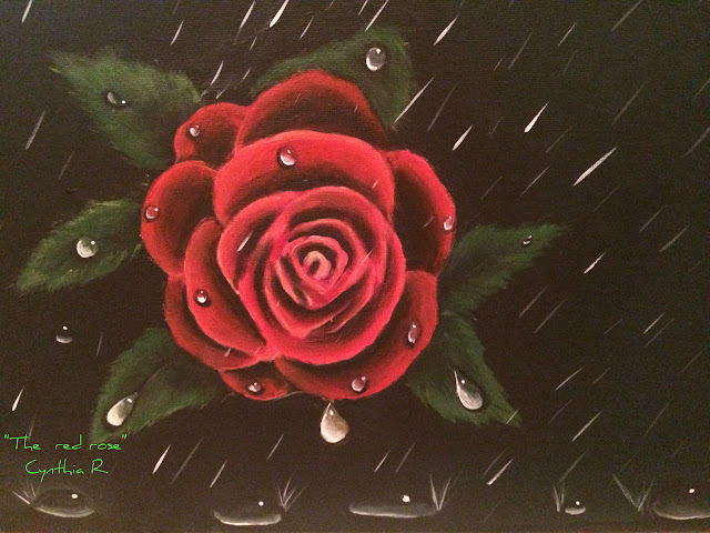 Red rose, Cynthia R. Arte don y pasión, pintura acrílica en canvas