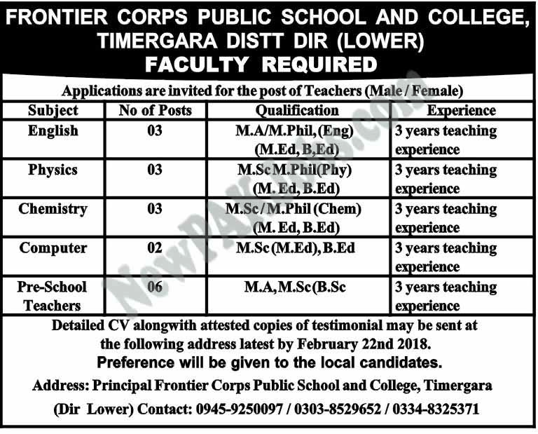 rontier Corps Public School and College Latest Jobs 2018 in Timergara