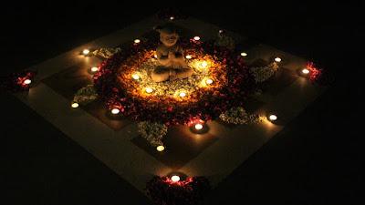 Diwali rangoli made with flowers