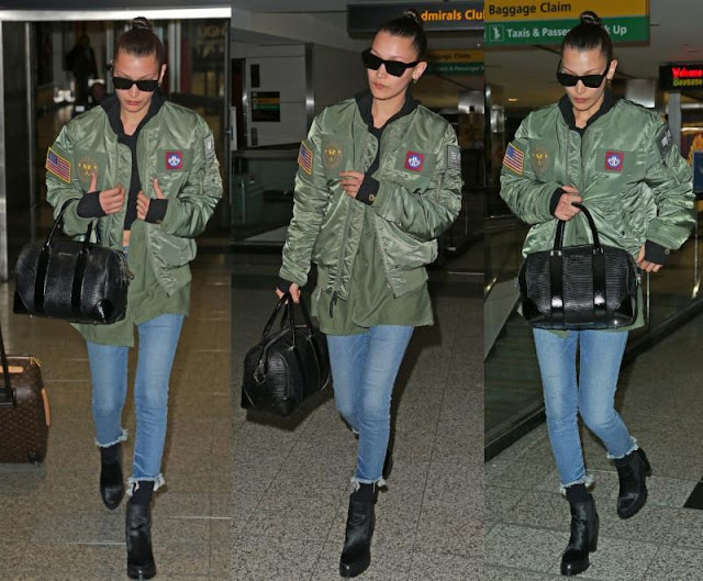 Bella Hadid wearing true religion jeans