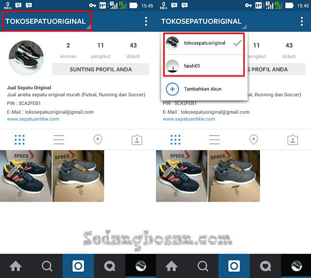 Klik Username Di Pojok Kiri Atas Kemudian Pilih Akun Instagram Yang Ingin Sobat Gunakan