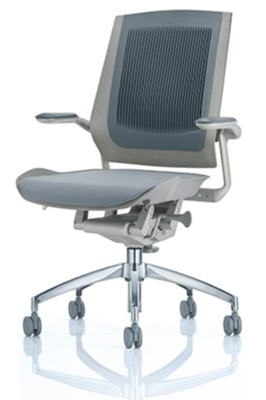 Grey Bodyflex Task Chair with Chrome Base