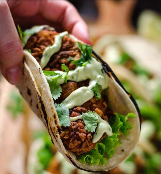 Crispy Chicken Tacos with Avocado Buttermilk Ranch