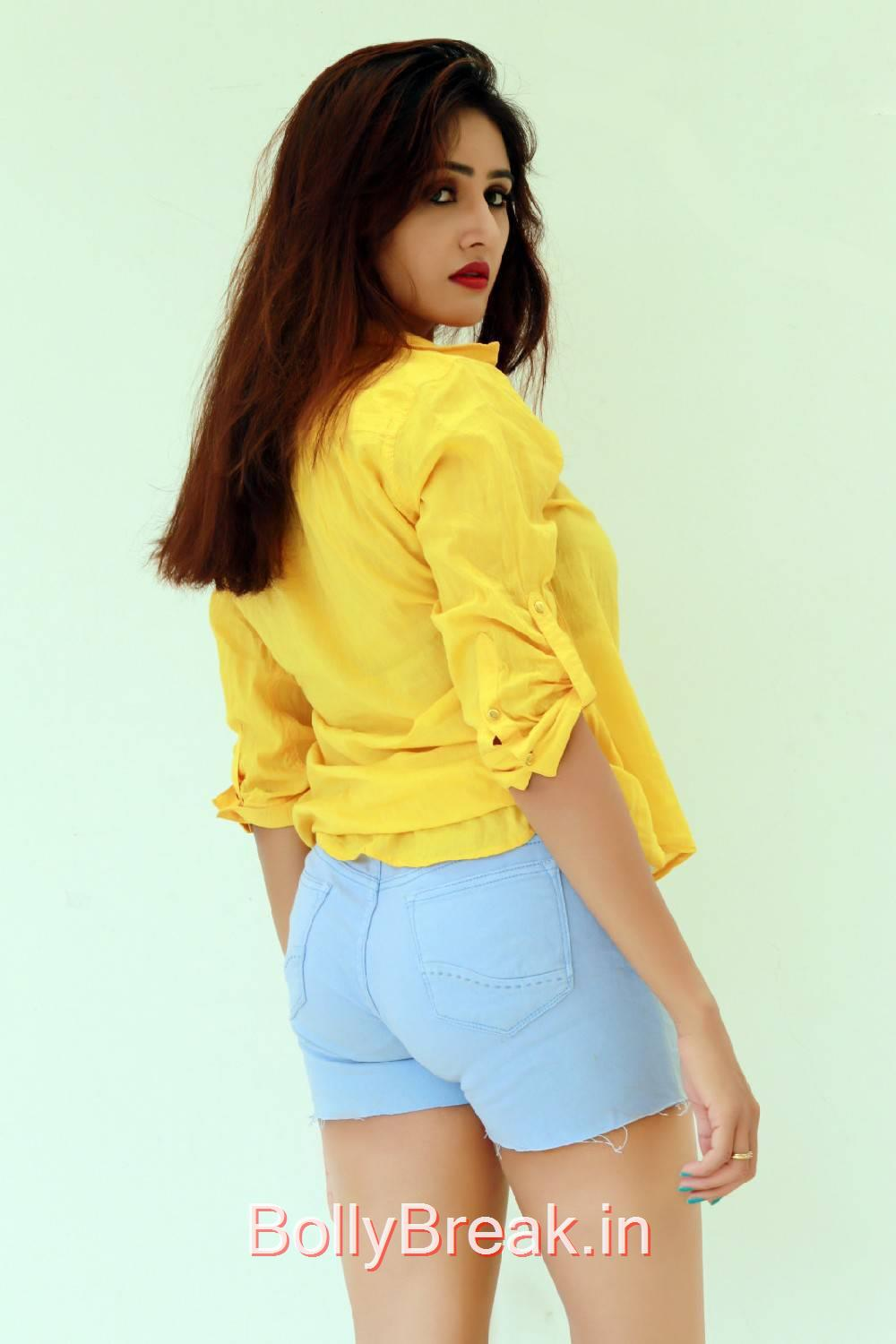 Sony Charishta Pics, Sony Charishta in Denim Shorts - Hot Photoshoot Images in Yellow Shirt