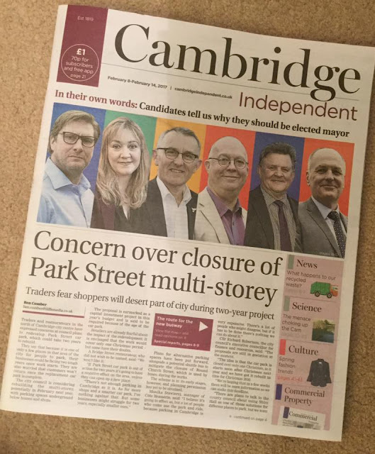 Mayoral candidates on the cover of Cambridge Independent