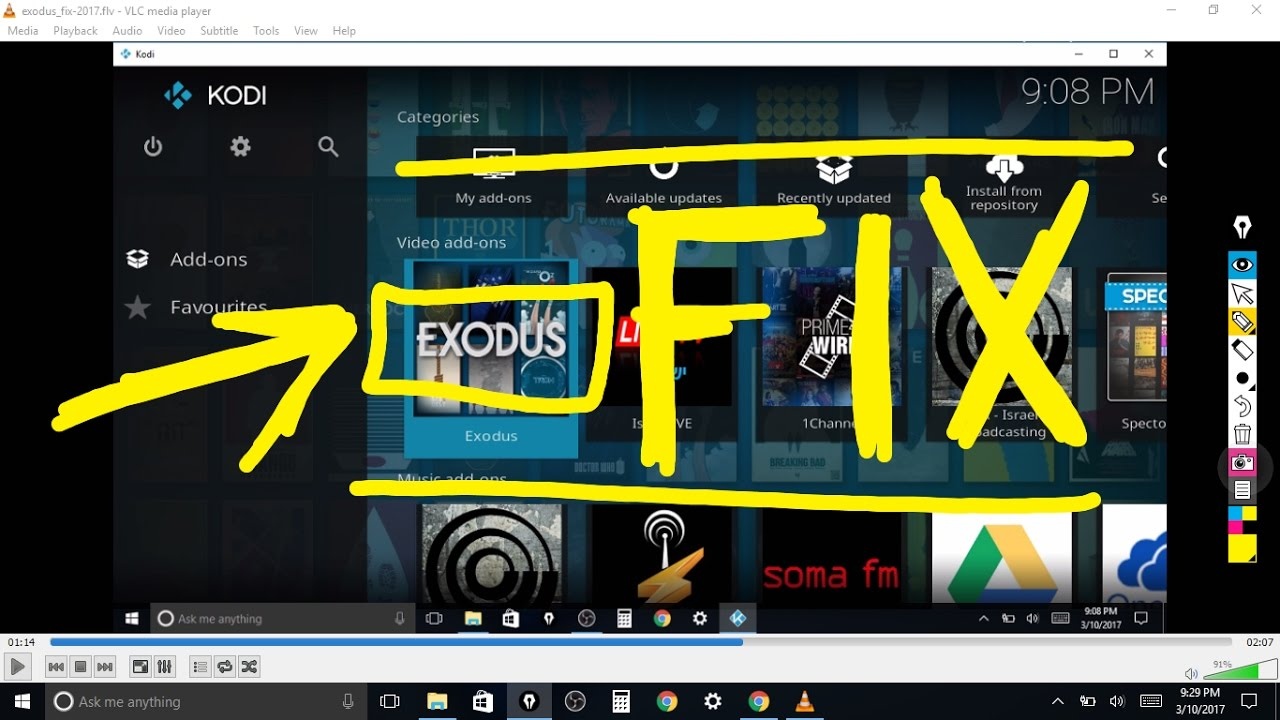 exodus kodi download not working