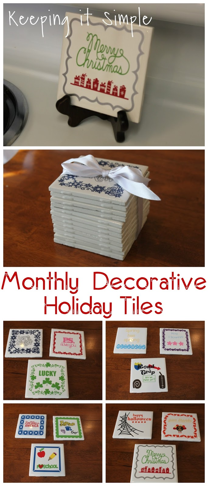 Christmas Gift Idea 4x4 Monthly Decorative Holiday Tiles