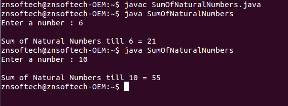 Java code to find sum of natural numbers upto a given number using recursion