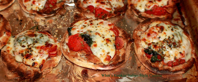 these are English muffins with pizza topping suggestions