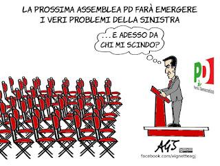 Maurizio Martina, segretario, assemblea PD, politica, vignetta, satira