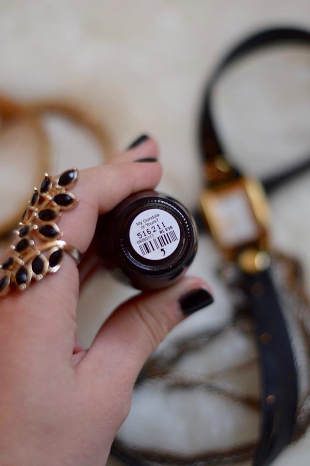 A Day In The Lalz; Black Nail Polish; OPI My Gondala Or Yours?; La Mer Watch; BCBG Bangles; Best Black Nail Polish; Winter Nails; Manicure; Beauty Blog; Fashion Blogger;