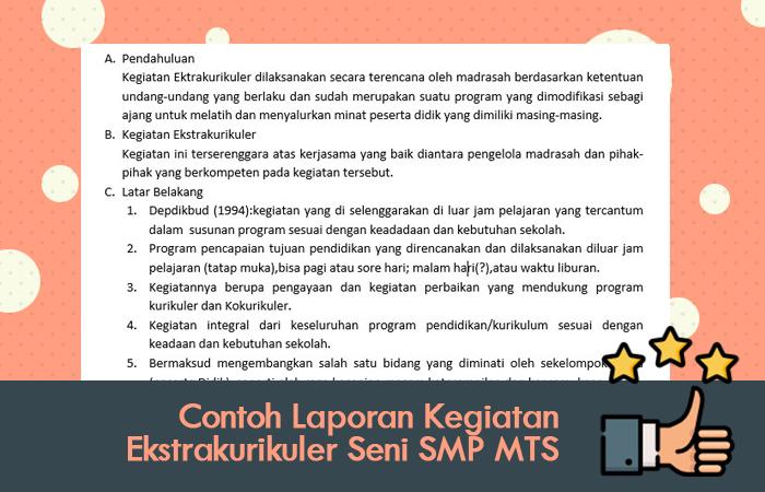 Contoh Laporan Kegiatan Ekstrakurikuler Seni SMP MTS