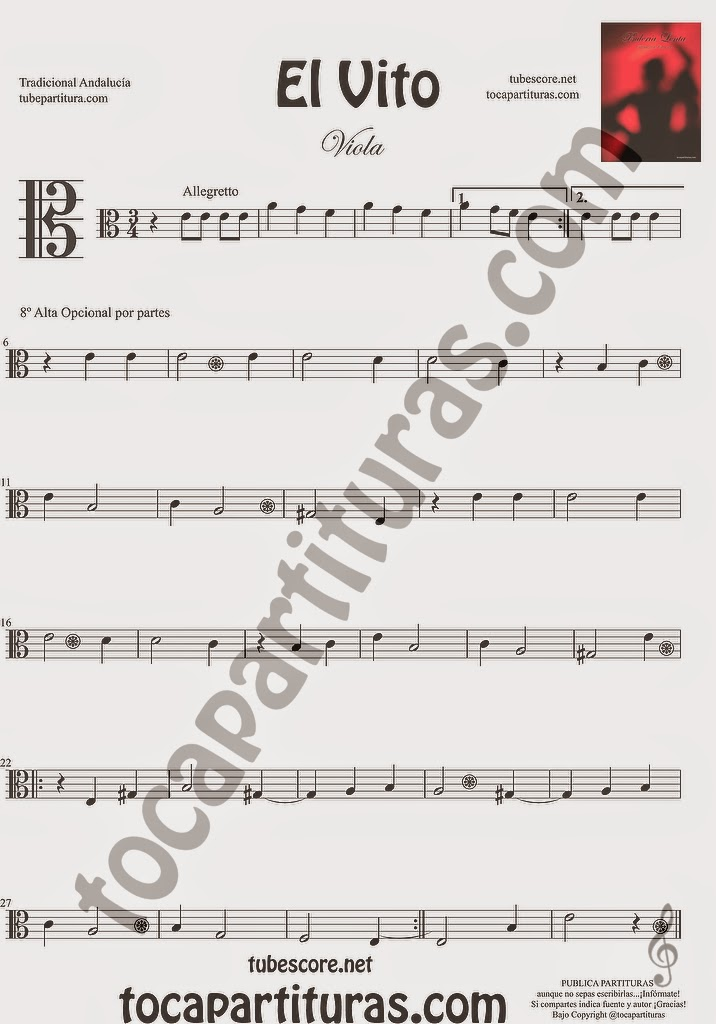 El Vito Partitura de Viola Sheet Music for Viola Music Score