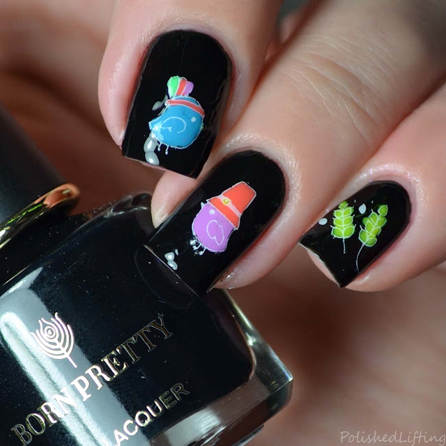 neon thanksgiving nail art