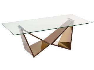 mesa de centro metal y cristal
