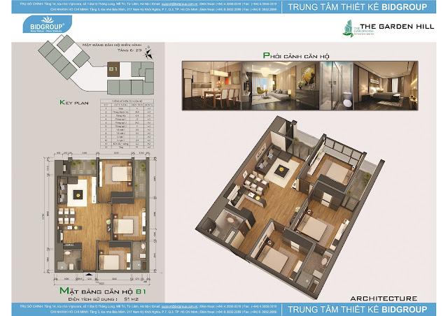 Căn hộ B1 tầng 6-29, diện tích 91m2