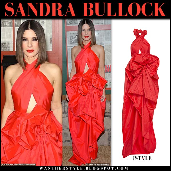 Sandra Bullock in red halterneck silk dress martin grant red carpet bird box december 17