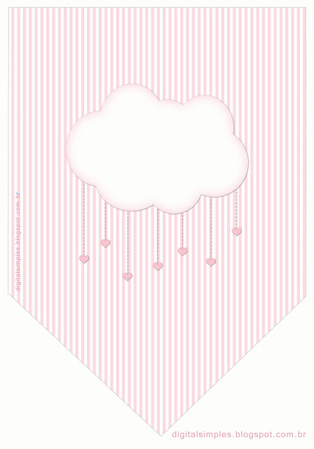 Pink Rain of Blessings or Rain of Love: Free Printable Invitation and Party Printables.