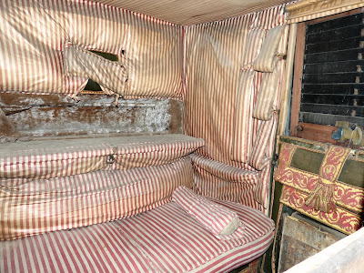 Inside a travelling chariot, showing the window screens, Red House Stables