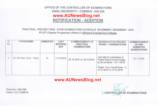 Anna University Practical Exam Schedule for PG Nov Dec 2018 exams (3rd Sem)