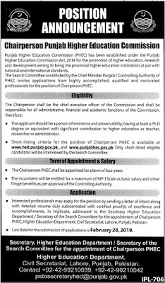 Punjab Higher Education Commission (PHEC) Jobs 2019 for Chairperson Posts