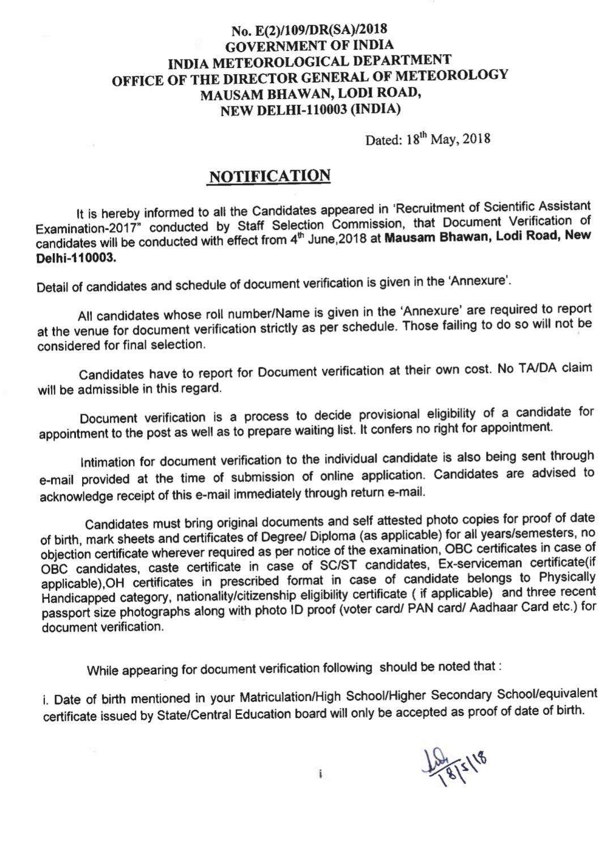 SSC IMD Notice for Document Verification - QMaths: SSC CGL
