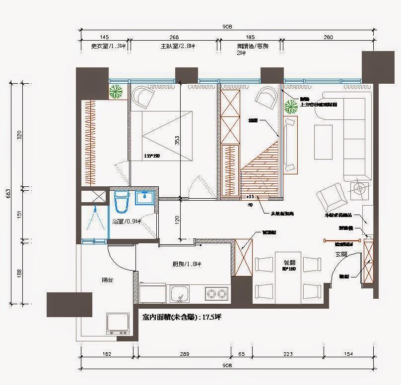 室內設計入門及圖檔分享: 住宅室內設計案例平面圖分享-溫哥華17.5坪