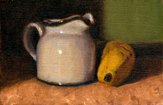 Oil painting of a small white porcelain milk jug beside a banana.